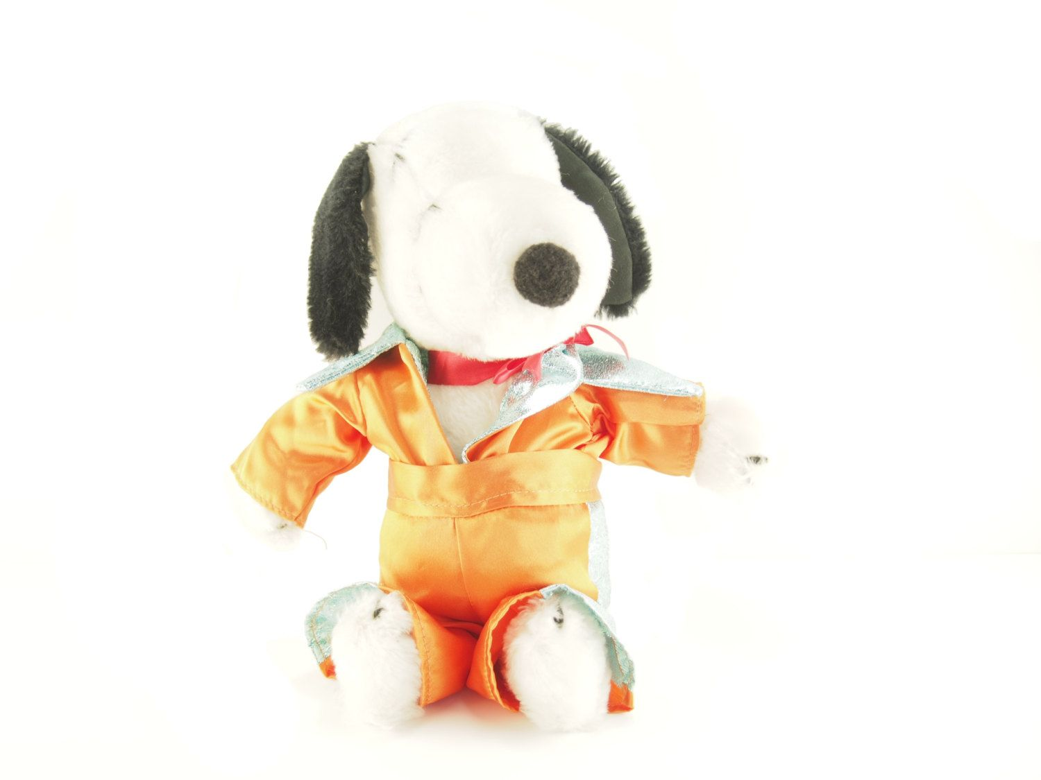 "RARE Vintage 11"" Snoopy Plush with Orange Elvis Costume, Soft stuffed animal dog doll toy Charlie Brown Peanuts collectible Christmas Gift by BelleBloomVintage on Etsy"