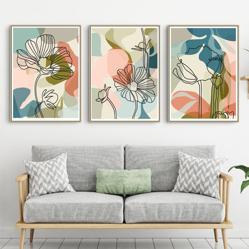 Blue Orange Pink Abstract Art Print Living Room Decor Modern Contemporary Painting Instant Download Large Wall Art Printable Boho Art