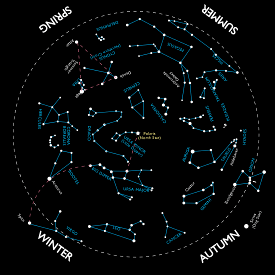 Night Sky Constellations Northern Hemisphere Star Chart For The - Night sky map northern hemisphere