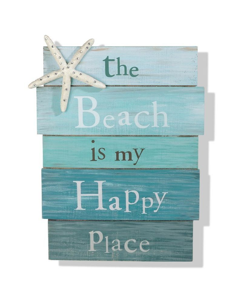the beach is my happy place sign tropical starfish plaque coastal