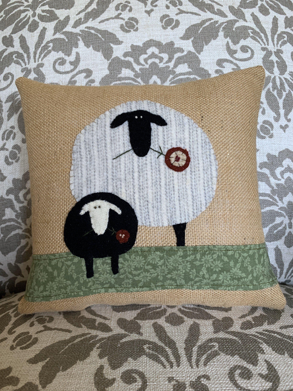 Sheep Spring Pillow, Sheep Appliqué, Spring Decoration