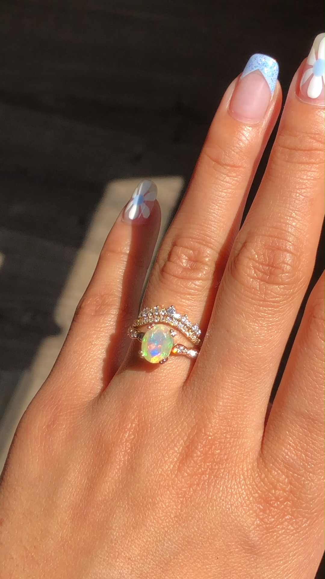 Oval Grace Solitaire Opal Ring + Crown Diamond Ban