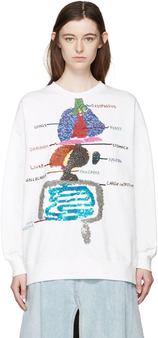 Ashish - White Sequin Biology Pullover