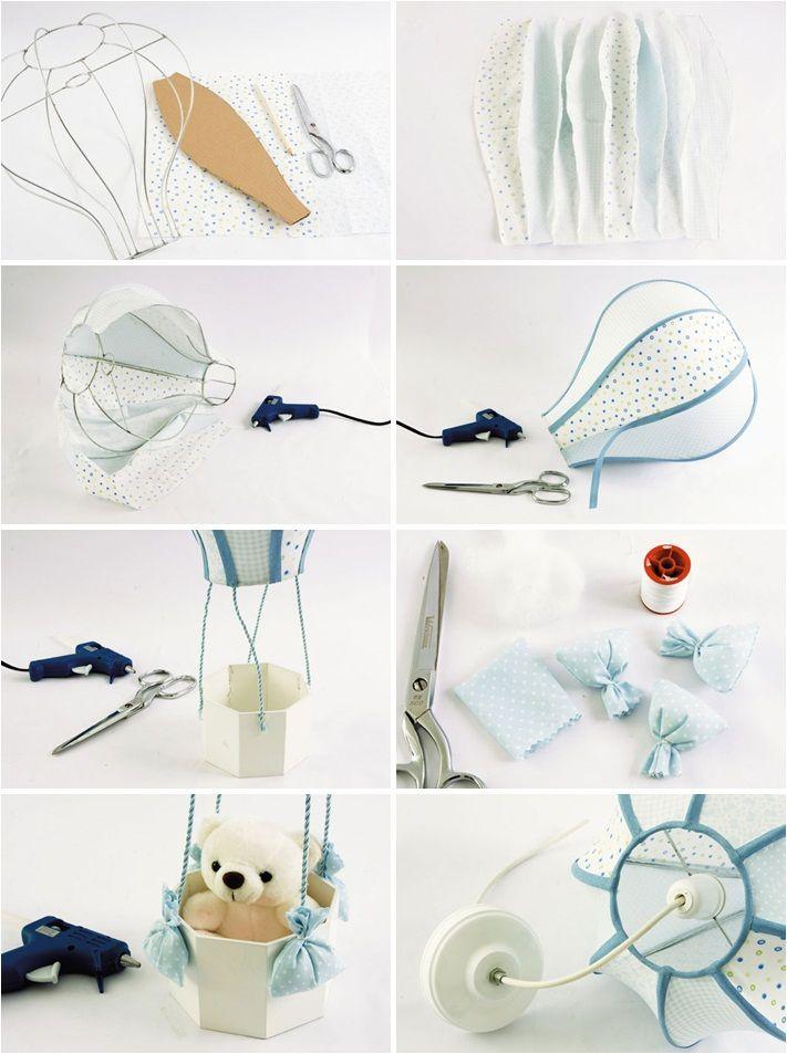 Hot air balloon themed nursery diy lamp teddy bear basket for Baby room decor ideas diy