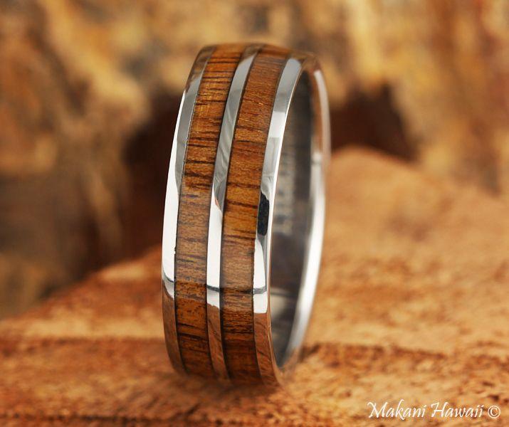 Titanium Koa Wood Inlaid Hawaiian Wedding Ring 8mm Makani Hawaii