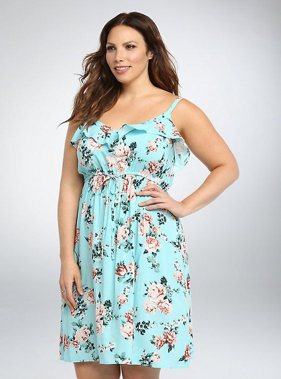 Floral Ruffled Challis Sundress | Wants: Dresses | Dresses, Blue ...