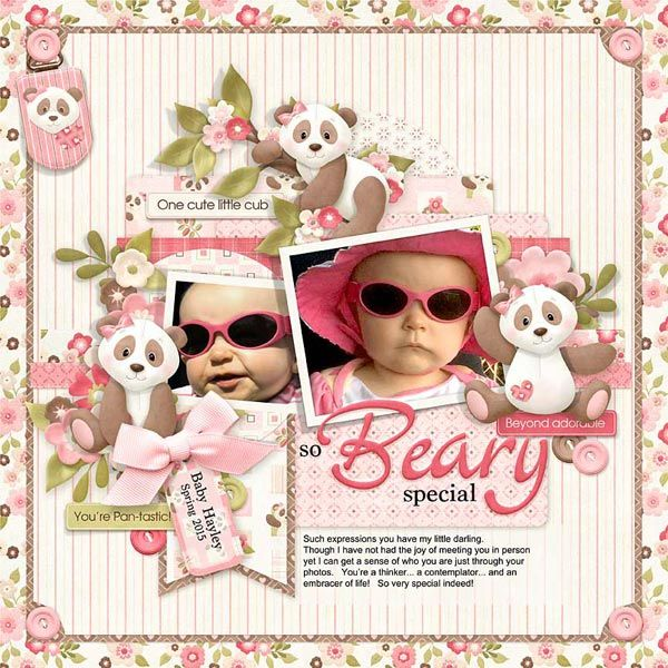 A cute baby girl's digital scrapbooking layout using the ever adorable panda…