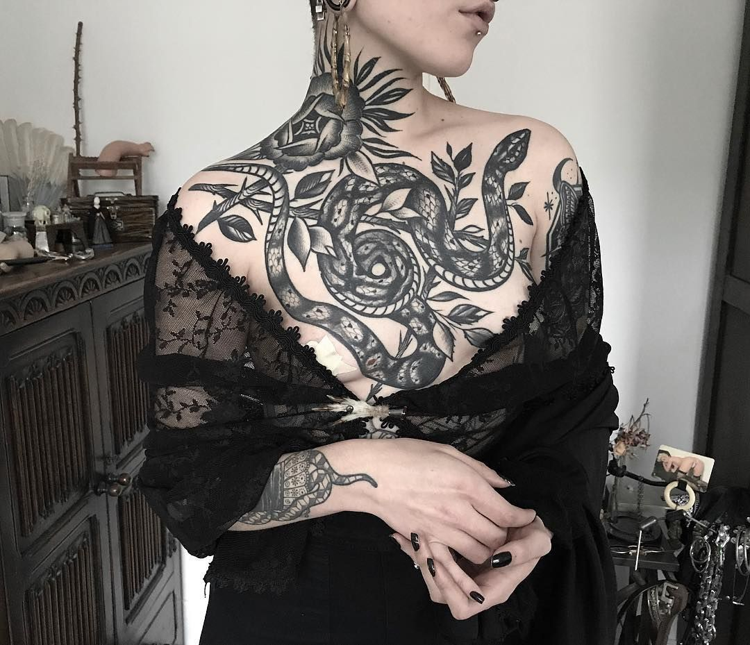 estherdemiguel Chest tattoo female upper, Side neck tattoo