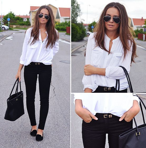 Lindex White Shirt, H Black Jeans, H Tote Bag, Thailand Belt, Gina ...