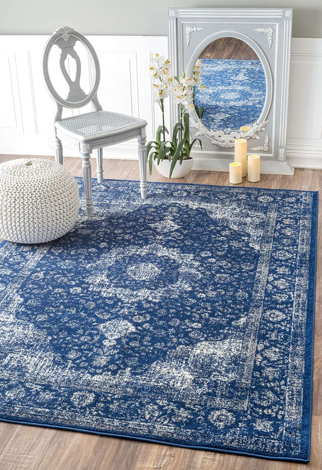 Amazon Com Traditional Persian Vintage Fancy Dark Blue Area Rugs 9 Feet By 12 Feet 9 X 12 Garden Outdoor Blue Area Rugs Dark Blue Rug Buy Area Rugs