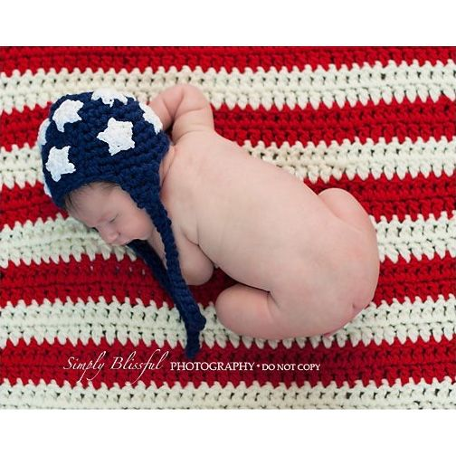 Crochet American Flag Earflap Hat with Blanket from Backdrop Express