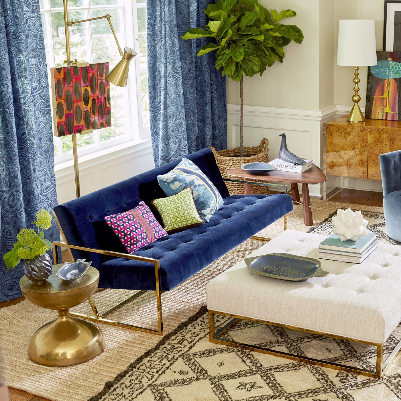 Navy Velvet Apartment Sofa