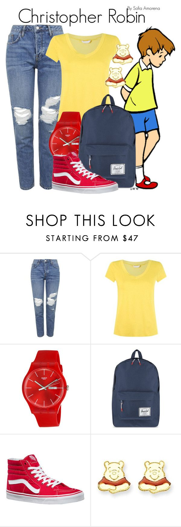 """""""Christopher Robin"""" by sofiaamorena ❤ liked on Polyvore featuring Topshop, Lygia & Nanny, Swatch, Herschel Supply Co., Vans and Disney"""