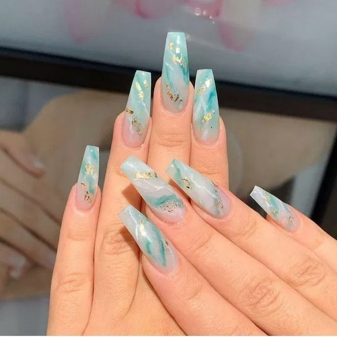 76+ french ombre, glitter marble and crystals on long coffin nails 46 | lifestyles