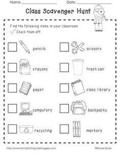 kindergarten scavenger hunt first day google search - Back To School Worksheets For Kindergarten