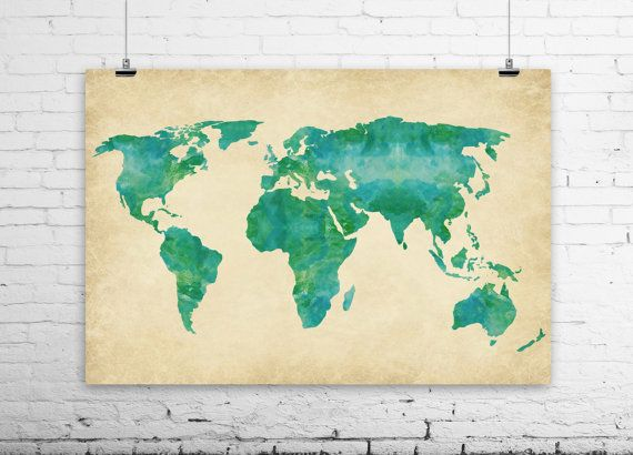 Watercolor World Map Art Print - Green Blue Earthy Jewel-toned - new world map canvas picture