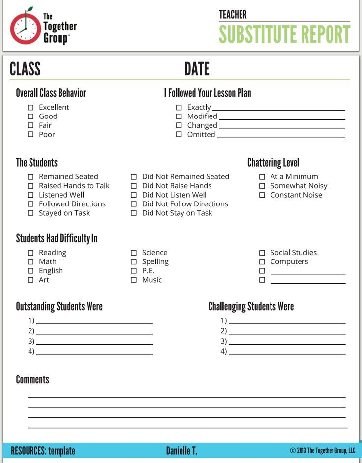 Image result for substitute teacher feedback form Back to School - substitute teacher feedback forms