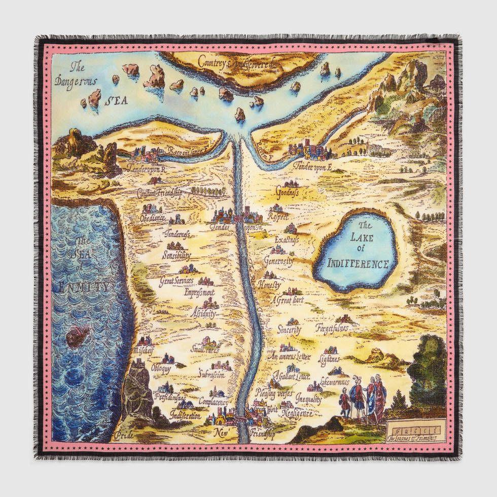 Carte De Tendre Wool Silk Shawl Imaginary Maps Wool