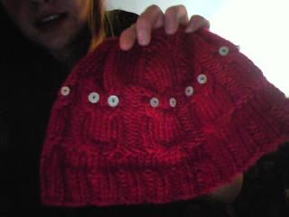 My first foray into cables. It's a red owl hat I made for my niece for Christmas last year. There were matching mittens, but I didn't take a picture of those. EPIC pattern from Penguin Purls (see link). If the cabling instructions are confusing, there are tons of good instructional videos on YouTube.