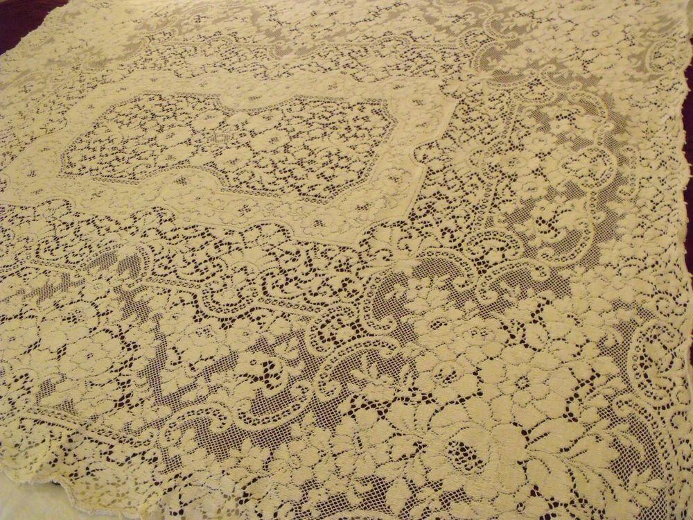 "Quaker Lace #4120 Tablecloth Stunning Floral Design Creamy Ecru 51""x60"" Vtg5 #Quakerbeigetag4120"