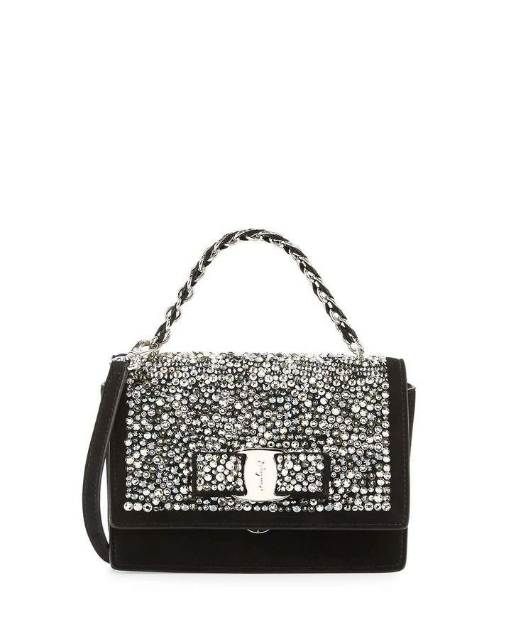 Salvatore Ferragamo Ginny Vara Crystal Crossbody Bag, Nero ... cf9a33d0da