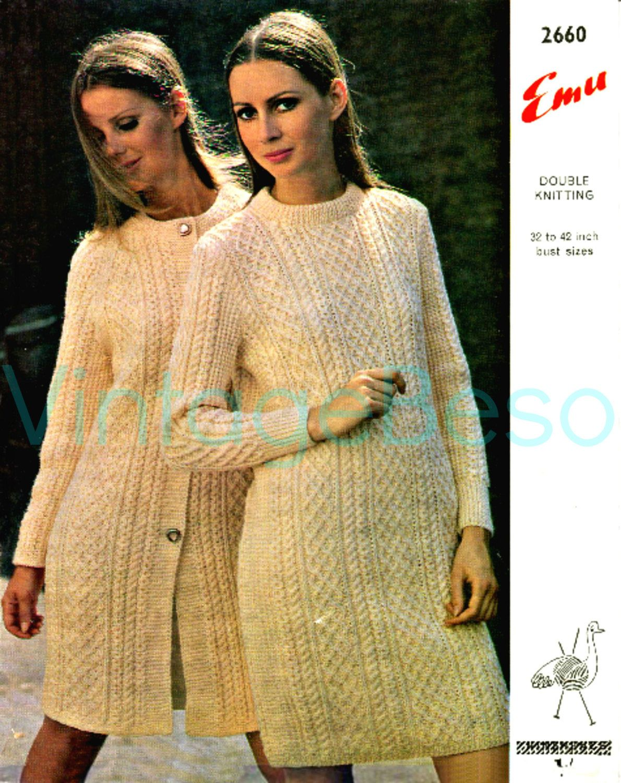 Instant Download Aran Sweater Dress Vintage Knitting Pattern 2 Etsy Aran Dress Sweater Dress Aran Sweater [ 1500 x 1190 Pixel ]