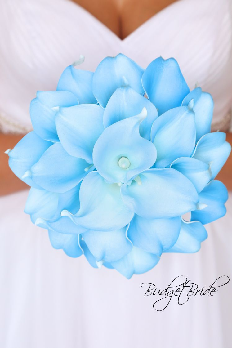 Wedding decorations teal and purple october 2018 light blue Capri baby blue real touch Calla Lily Wedding Bouquet