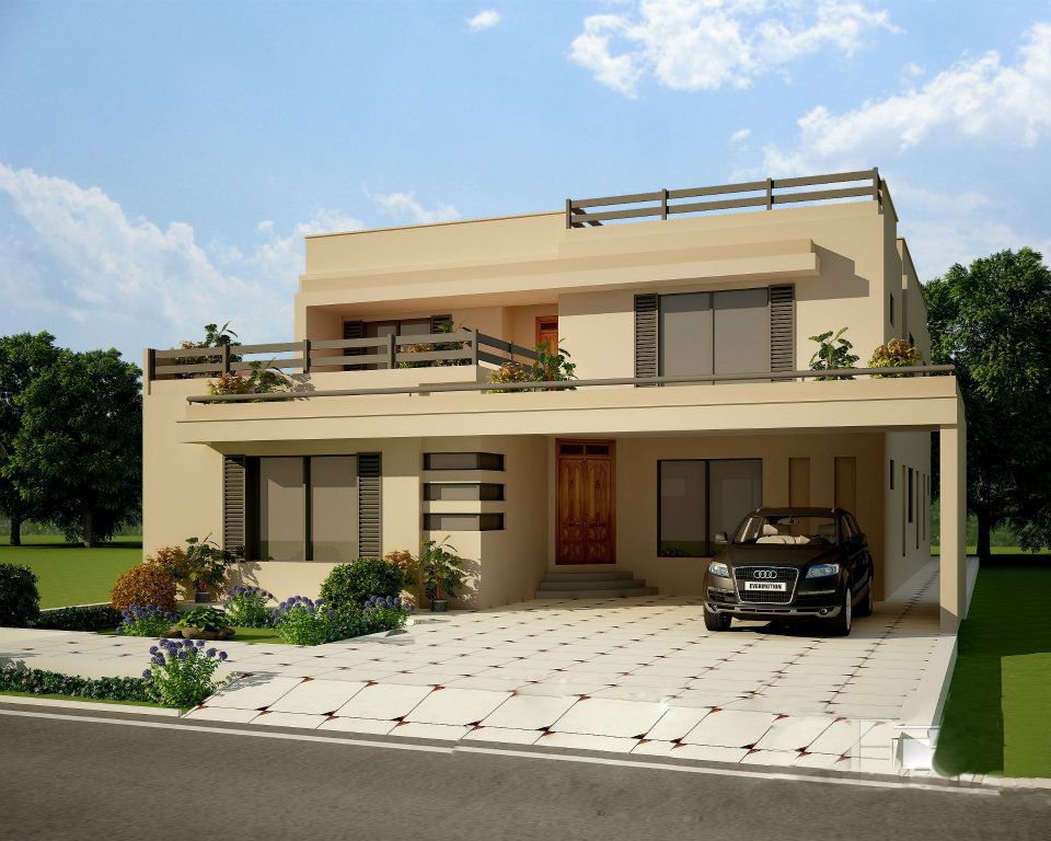 Exterior house design front elevation mi futura casa for Modern villa plans and elevations