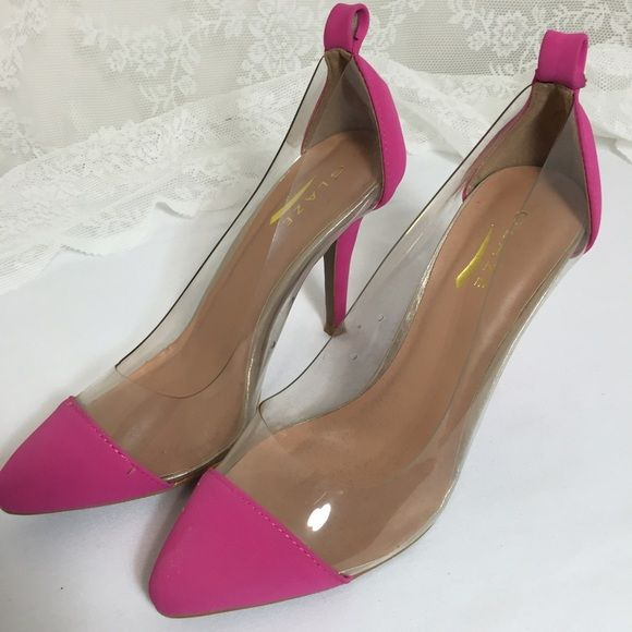 Pink/poly heels 8.5 Glaze brand Pink/poly heels. lightly worn by models.  Looks like new✨✨ Heel is about 4 inches tall. Glaze Shoes Heels