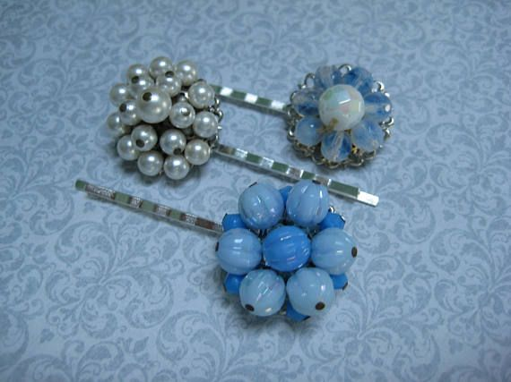 set of 3 bridesmaids vintage hair pins repurposed reclaimed hp128 grips slides recycled upcycled rhinestones bobbies bobby pins