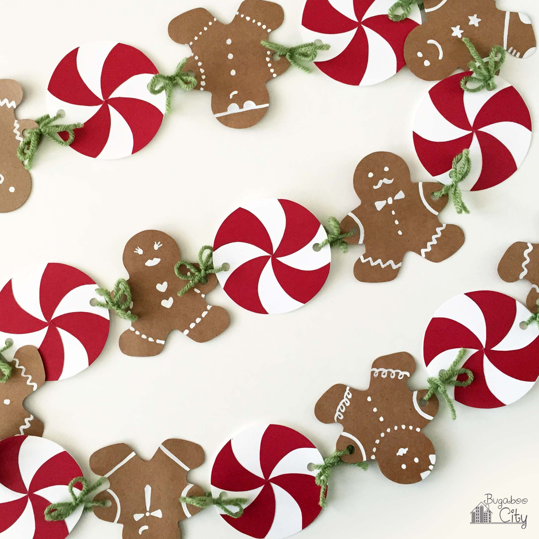 Felt Gingerbread Man CHRISTMAS Garland Banner Bunting Party Flags Decoration