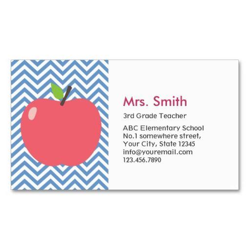 Teacher Cute Apple Modern Blue Chevron Stripes Business Card Zazzle Com Substitute Teacher Business Cards Teacher Business Cards Teacher Cards