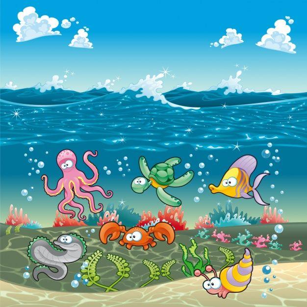 Download Sealife Background Design For Free Animales Dibujos Animados Peces De Colores Diseno De Arte Grafico