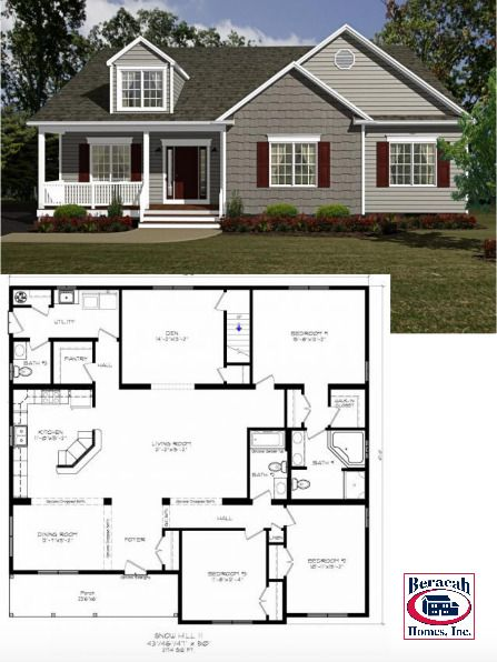 The custom plan features unique elevations in a system built design. An optional 8' dormer and integrated front porch are functional and pleasing to the eye. A private Den is separate from the otherwise open plan, but not secluded. The optional stairs to future living space gives room to grow at an affordable price later on.  #customhomes #customhomebuilders #beachhouses #floorplans #homedesigns #homeideas #homeexterior #rancherstyle #familyhomes #remodelling #moving #building #homeinspiration