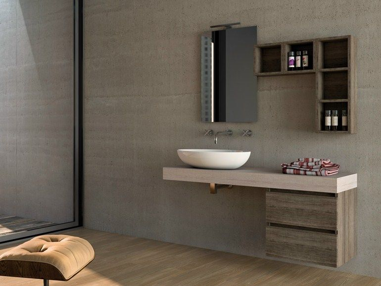 Sectional Wall Mounted Wooden Vanity Unit COMPONIBILE 6 Urban Collection By  LEGNOBAGNO
