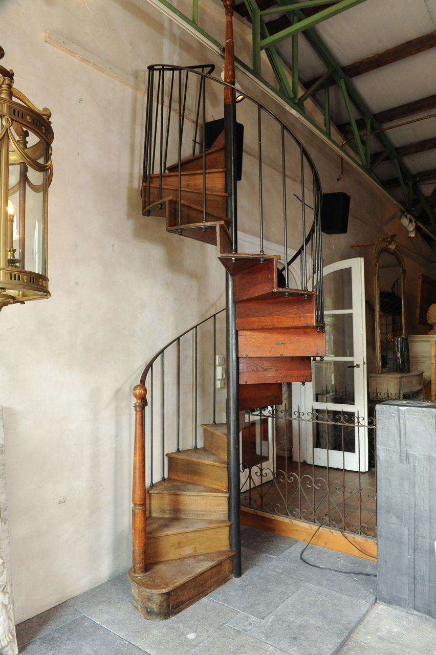 Antique Oak And Iron Spiral Staircase From a unique