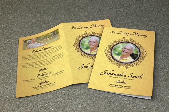 Printable Funeral Program Template  Memorial Obituary Template
