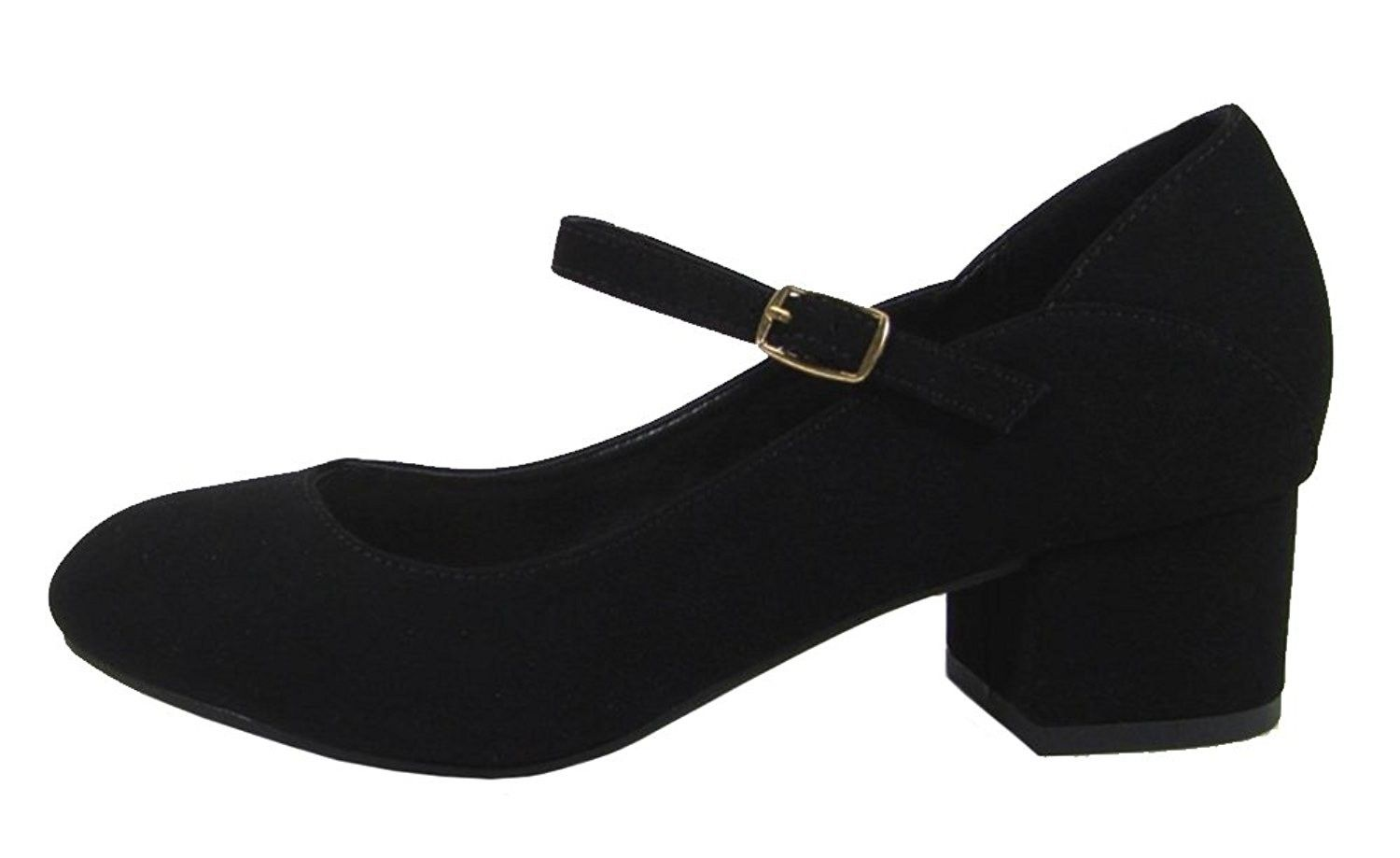 d19bd94de41 Comfort Women s Mary Jane Mid Chunky Block Heel Pump - Black Nubuck ...