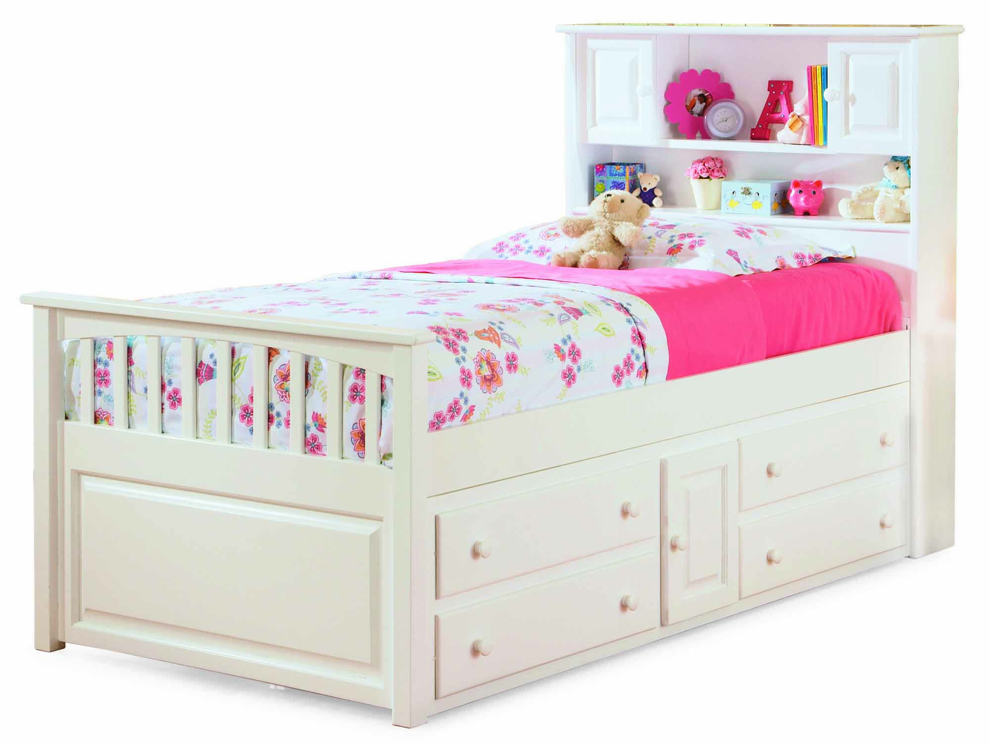 White Captain's Twin Bed with Four Drawer Storage Chest