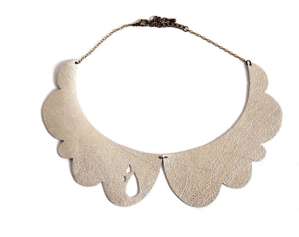 Peter Pan collar necklace inspired by cloud, pale gold leather