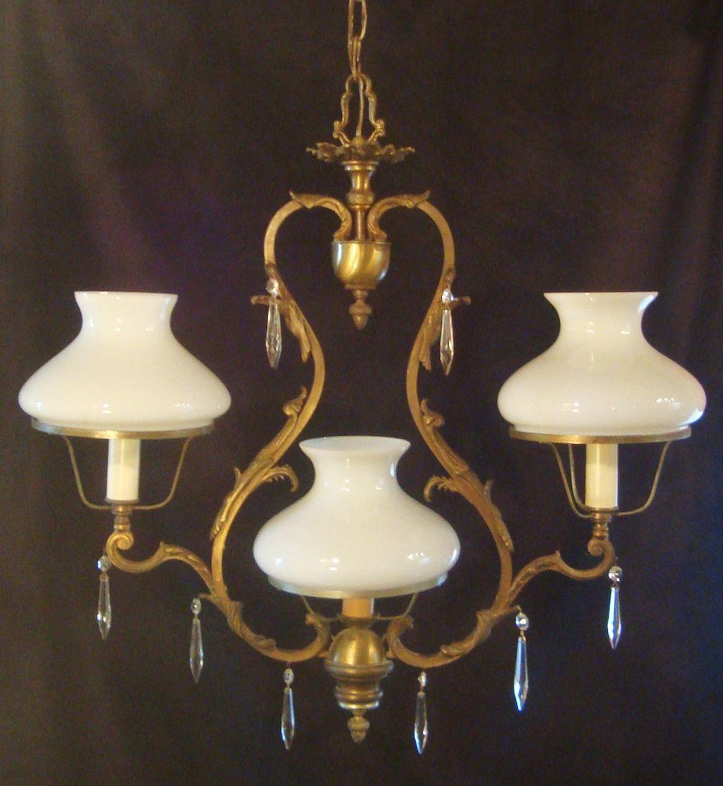 Antique victorian bronze 3 light chandelier light fixture hanging antique victorian bronze 3 light chandelier light fixture hanging lamp with prisms rococo arubaitofo Choice Image