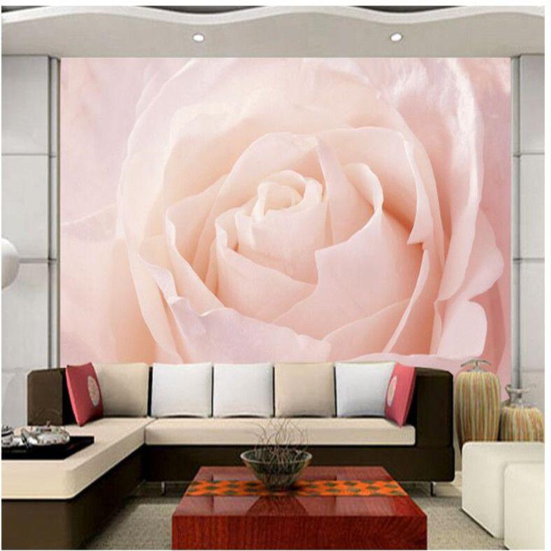 Custom Photo Wallpaper Stereo Large Murals Big pink roses artistic ...