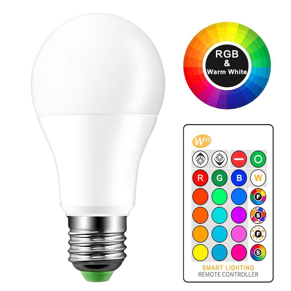 זול 10 W 15 W E27 Led Rgb הנורה מנורת Ac85 265v Led עיצוב הבית פנים ספוט אור בית Led תאורת Lampada Ir שלט רחוק לק Led Light Bulb Color