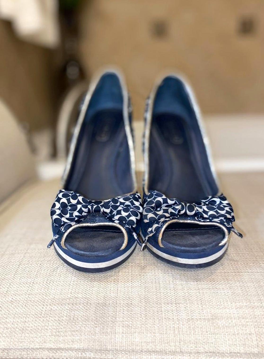 Coach navy blue wedge high heel in 2020 navy blue wedges