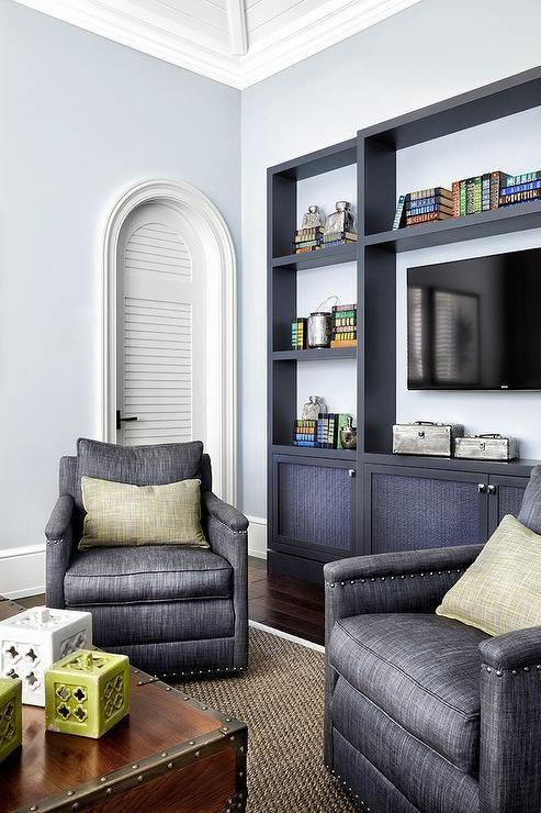 Stunning Living Room Features Light Blue Walls Framing A