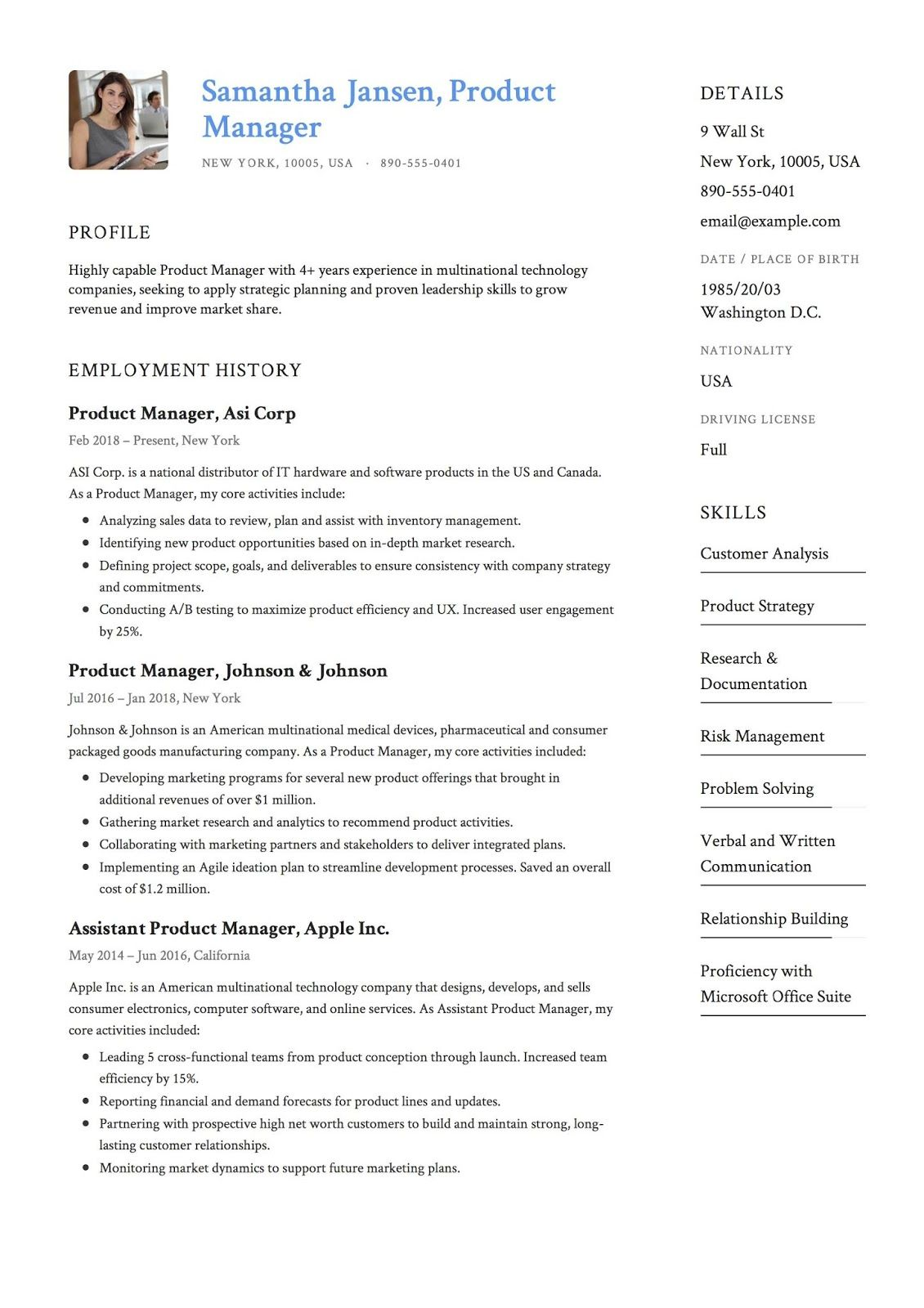 Product Manager Resume Sample, product manager resume