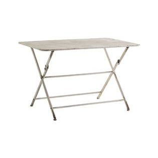 ANTIQUED FOLDING TABLE - Think French bistro, Italian courtyard, English garden, or American backyard. Wherever you and your crew gathers, this iron table is sure to accommodate. The ivory finish is handpainted with a handsome patina, a slightly worn looking treatment that gives it an antique quality. It's great for those in a small space, as you can fold it up for use and fold it down for storage. As far as its size, don't worry: this patio table is more than up to the task of hosting ...