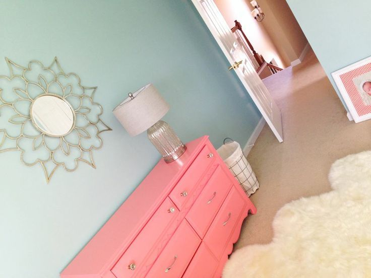 Dresser makeover in Dishy Coral