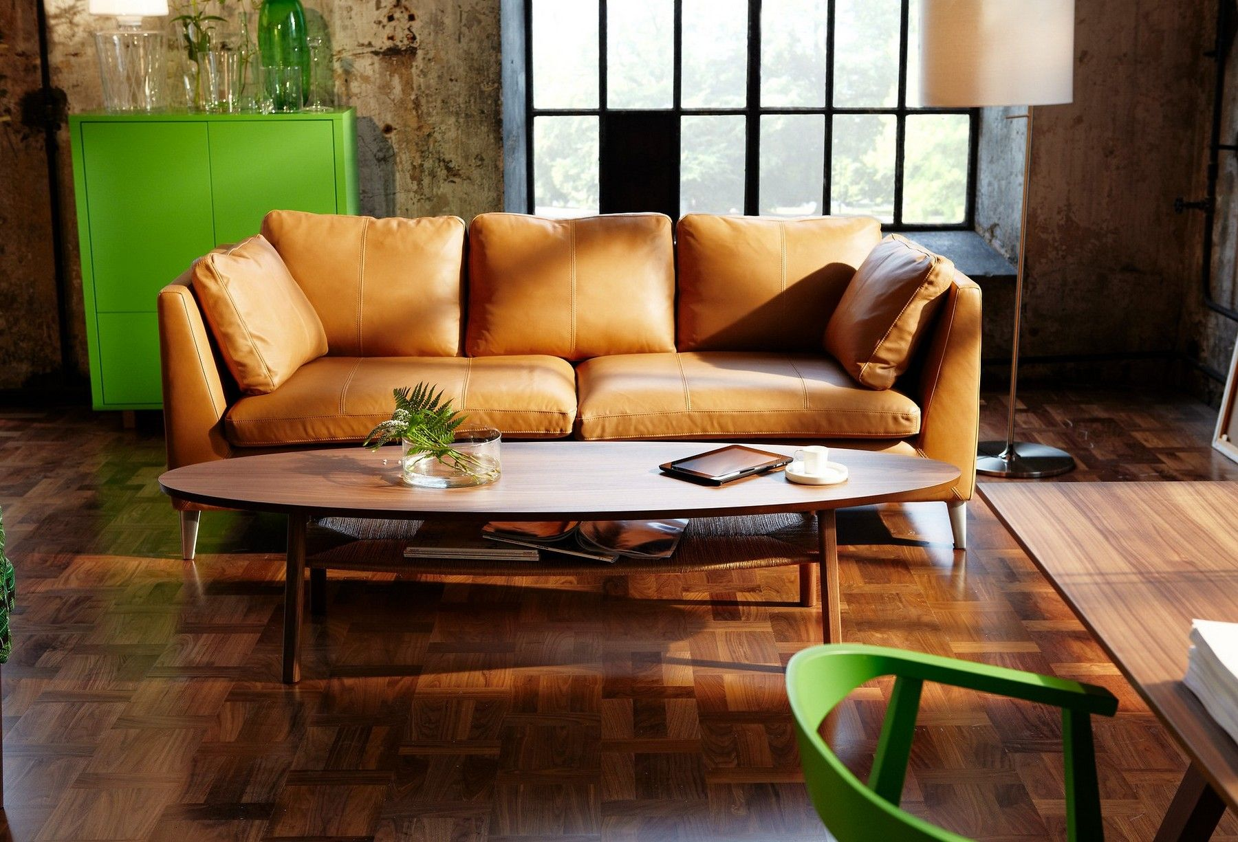Furniture IKEA Surfboard Table With Light Brown Leather Sofa Set