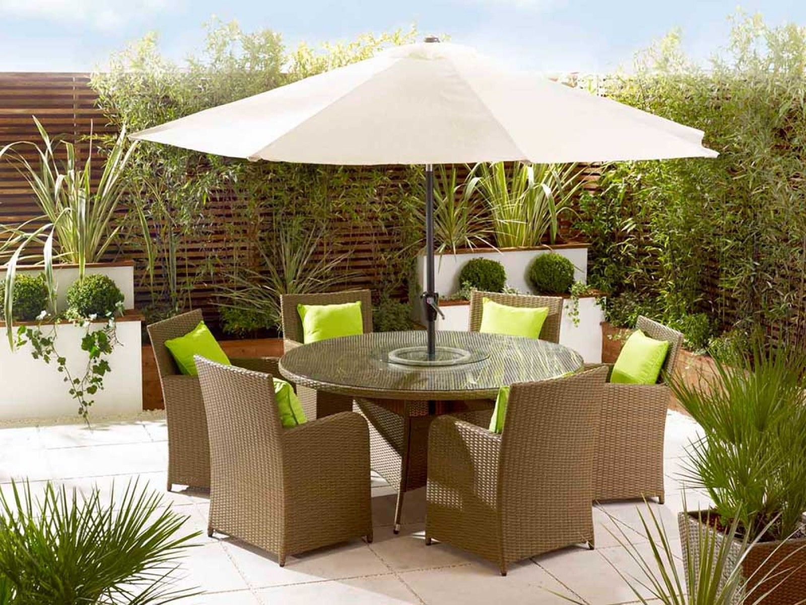 6 Seater Rattan Dining Set   Rattan Garden Furniture | Living It Up |  Living It